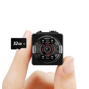 Tech Mini Kamera Full HD Überwachungskamera mit Infrarot Nachtsicht und Bewegungserkennung, mit 32G SD-karte