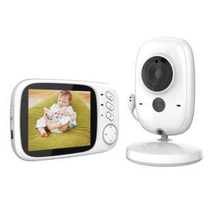 Smart Baby Monitor mit Video Überwachung Digital LCD Bildschirm Wireless, VOX, Nachtsicht, Wecker, Temperaturüberwachung, Gegensprechfunktion, Wiederaufladbar